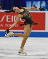 【フィギュア世界国別対抗戦】女子フリーで1位となったエリザベータ・トゥクタミシェワ(ロシア)=マリンメッセ福岡で2019年4月13日、矢頭智剛撮影