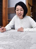 加賀友禅の修業に打ち込む金丸絵美さん=金沢市材木町で、日向梓撮影