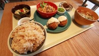 玄米ごはん定食。論文によると、日本の食事で、死亡に影響している問題点は、1位が塩分過剰、2位は全粒穀物(玄米など)の不足だった