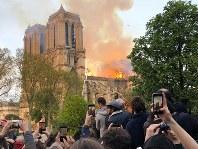 炎を上げて燃えるノートルダム大聖堂=パリで15日、賀有勇撮影