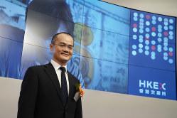 香港証券取引所に上場した美団点評の王興・最高経営責任者(Bloomberg)