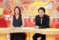 司会の有吉弘行(右)と進行の吉田明世。23日放送分では「歯」にまつわるうわさを語り合う=関西テレビ提供