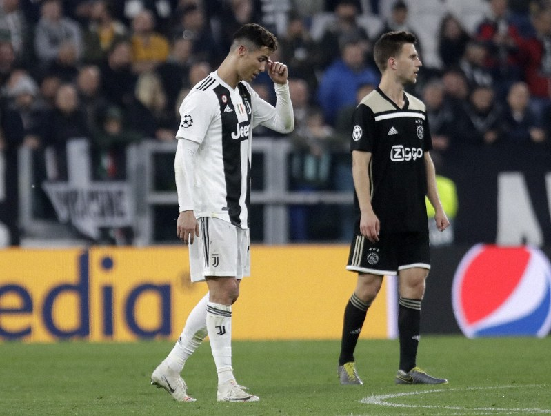 ae416bbc4 Juventus  Cristiano Ronaldo reacts during the Champions League quarterfinal  second leg soccer match between Juventus and Ajax