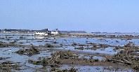 東日本大震災の直後、海水と木が流れ込んだほ場=福島県相馬市新田で、竹沢一敏さん提供