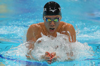日本選手権男子200メートル平泳ぎで初優勝した渡辺一平=東京辰巳国際水泳場で2019年4月7日、宮武祐希撮影