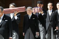 Emperor Akihito, center, visits the inner shrine of Ise Jingu Shrine in the city of Ise, Mie Prefecture, on April 18, 2019. (Pool photo)
