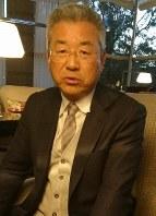 高校生たちを指導する日々を語る達川氏=東京都内で2019年1月18日午後5時17分、中村有花撮影