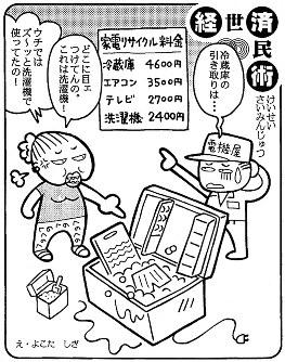 「家電リサイクル料金」翌年春の家電リサイクル法施行に向け、対象品目の処理料金発表=平成12(2000)年9月9日掲載