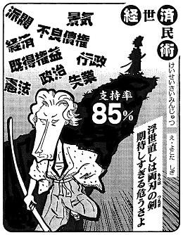 「支持率85%」小泉純一郎首相が主張する「構造改革なくして景気回復なし」への期待が歴史的高支持率に=平成13(2001)年5月5日掲載