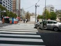 複数のけが人が出ている事故の現場=東京都豊島区南池袋2で2019年4月19日午後1時ごろ、土江洋範撮影