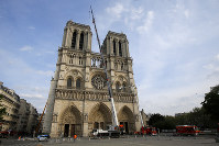 Notre Dame Cathedral is pictured after a ceremony at the city town hall on April 18, 2019, in Paris. (AP Photo/Michel Euler, Pool)