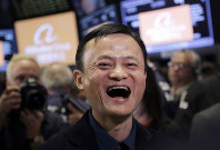 In this Sept. 19, 2014 file photo, Jack Ma, founder of Alibaba, smiles during the company's IPO at the New York Stock Exchange in New York. (AP Photo/Mark Lennihan)