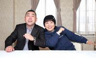 40年来、親交がある落語家の桂南光さん(左)と喜劇女優の藤山直美さん=京都市東山区で2019年4月2日、梅田麻衣子撮影