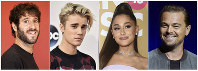 This combination photo shows, from left, rapper-comedian Lil Dicky, singers Justin Bieber, Ariana grande and actor Leonardo DiCaprio, who participate on a new song and video aimed at bringing awareness to climate change and Earth Day. (AP Photo)
