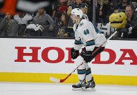 San Jose Sharks center Tomas Hertl (48) celebrates after scoring against the Vegas Golden Knights to win the game during the second overtime in Game 6 of a first-round NHL hockey playoff series on April 21, 2019, in Las Vegas. (AP Photo/John Locher)