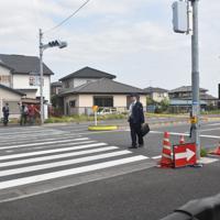 事故現場となった横断歩道=千葉県木更津市江川で2019年4月23日、加藤昌平撮影