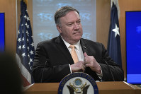 U.S. Secretary of State Mike Pompeo speaks during a news conference on April 22, 2019, at the Department of State in Washington. (AP Photo/Sait Serkan Gurbuz)