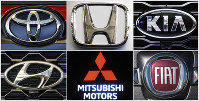 This undated combination of photos shows clockwise from top left the logos for Toyota, Honda, Kia, Fiat Chrysler, Mitsubishi and Hyundai. (AP Photos)