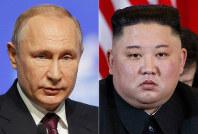 This combination file photo, shows Russian President Vladimir Putin, left, in St. Petersburg, Russia, April 9, 2019, and North Korean leader Kim Jong Un in Hanoi, Vietnam, on Feb. 28, 2019. (AP Photo/Dmitri Lovetsky, Evan Vucci)