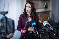 New Zealand Prime Minister Jacinda Ardern speaks to media at her electorate office in Aukland, New Zealand, on April 24, 2019. (Jason Oxenham/New Zealand Herald via AP)