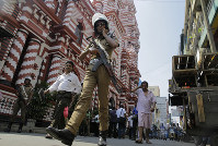 A Sri Lankan police officer patrols outside a mosque in Colombo, Sri Lanka, on April 24, 2019. (AP Photo/Eranga Jayawardena)