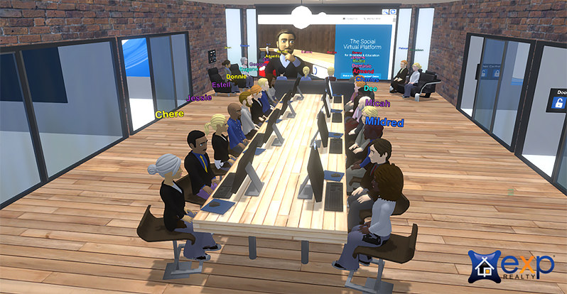 eXp社が開発した「バーチャルオフィス」での会議風景(C)eXp Realty