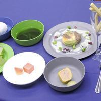 月で調達可能な食材で作った「月面ディナー」。上段中央の緑色のスープはミドリムシなどの藻類でできている=東京都中央区で、斎藤有香撮影