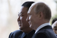 Russian President Vladimir Putin, right, and North Korea's leader Kim Jong Un pose for a photo prior to their talks in Vladivostok, Russia, on April 25, 2019. (AP Photo/Alexander Zemlianichenko, Pool)