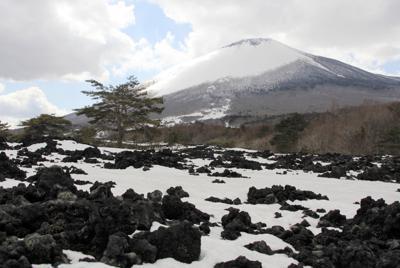 江戸中期の噴火でできた焼走り溶岩流=岩手県八幡平市平笠で