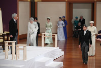 Emperor Akihito and Empress Michiko, left, and Crown Prince Naruhito and Crown Princess Masako, right, assemble before the beginning of the