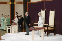 Emperor Akihito, Empress Michiko, Crown Prince Naruhito and others are seen before the beginning of the