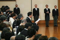 Prime Minister Shinzo Abe delivers an address at the