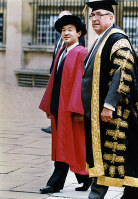 Crown Prince Naruhito attends a ceremony to receive an honorary doctorate in law from Oxford University, on Sept. 18, 1991, during a visit to Britain. (Pool photo)