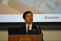 Crown Prince Naruhito makes a keynote lecture at the United Nations Special Thematic Session on Water and Disasters at U.N. Headquarters in New York, on March 6, 2013. (Pool photo)