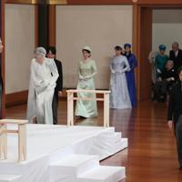 「退位礼正殿の儀」に臨まれ天皇、皇后両陛下=皇居・宮殿「松の間」で2019年4月30日午後5時(代表撮影)