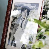 小尻知博記者の写真が掲げられた拝礼所=兵庫県西宮市の朝日新聞阪神支局で2019年5月3日午前10時28分、小出洋平撮影