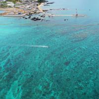 埋め立て工事が進む辺野古周辺。周囲は青い海に囲まれている=沖縄県名護市で2019年4月22日午前11時18分、小型無人機で森園道子撮影