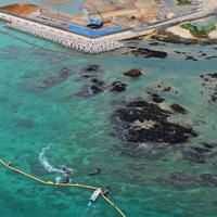 移設工事が進む辺野古沿岸部。海上でも反対派の抗議行動が見られた=沖縄県名護市で2019年4月22日午前10時54分、小型無人機で森園道子撮影
