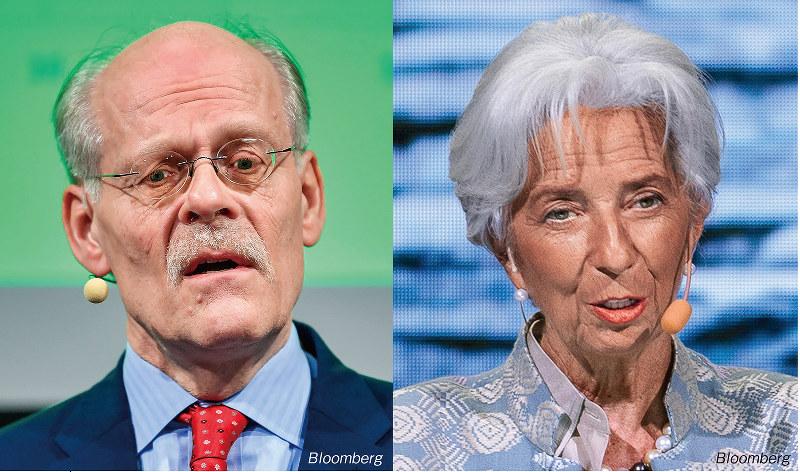 デジタル通貨を検討しているスウェーデン中央銀行イングベス総裁(左)と発行について講演したIMFラガルド常務理事(Bloomberg)