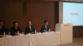 東京・浜松町の本社で行われた東芝の決算発表=2019年5月13日、今沢真撮影