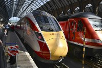 An Azuma high-speed train manufactured by Japan's Hitachi Ltd. is shown to the media at London's King's Cross Station, on May 14, 2019. The train will begin commercial operation on May 15. (Kyodo)