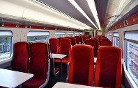 This May 14, 2019 photo shows the interior of the Azuma high-speed train, manufactured by Japan's Hitachi Ltd., during a demonstration run between London and Peterborough, a city about 120 kilometers north of London. The train will begin commercial operation on May 15. (Kyodo)