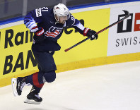 Dylan Larkin of the US celebrates after scoring his sides second goal during the Ice Hockey World Championships group A match between Germany and the United States at the Steel Arena in Kosice, Slovakia, on May 19, 2019. (AP Photo/Petr David Josek)