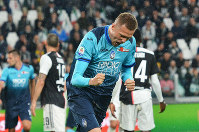 Atalanta's Josip Ilicic celebrates scoring during the Italian Serie A soccer match Juventus FC and Atalanta BC at the Allianz Stadium in Turin, Italy, on May 19, 2019. (Alessandro Di Marco/ANSA via AP)