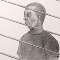 大阪拘置所で記者との面会に応じる山田浩二死刑囚(イラスト・遠藤浩二)