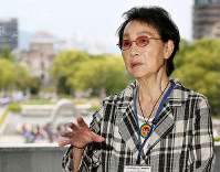 Emiko Okada talks about her activism in the U.S. at the Hiroshima Peace Memorial Museum in Naka Ward, Hiroshima, on May 15, 2019. (Tatsuya Onishi, Osaka Photo Group)