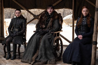 This image released by HBO shows from left to right Maisie Williams, Isaac Hempstead Wright and Sophie Turner in a scene from the final episode of 'Game of Thrones,'that aired on May 19, 2019. (HBO via AP)