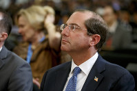 US Secretary of Health and Human Services Alex Azar attends the first day of the 72nd World Health Assembly at the European headquarters of the United Nations in Geneva, Switzerland, on May 20, 2019. (Salvatore Di Nolfi/Keystone via AP)