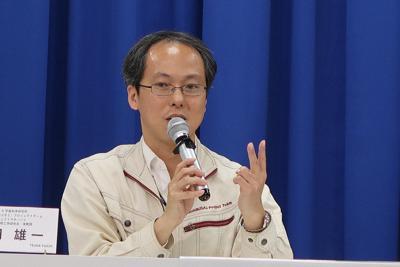 はやぶさ2の今後について説明する津田雄一・プロジェクトマネジャー=東京都千代田区で2019年5月22日、永山悦子撮影