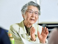 Keiko Kimura shares her experience of the Aug. 6, 1945, atomic bombing of Hiroshima, in Sawara Ward, Fukuokae, on April 3, 2019. (Mainichi/Takeshi Noda)